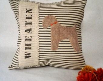 Wheaten Silhouette Pillow, Wheaten Silhouette Ticking Stripe Pillow, Pillow of My Dog, Custom Dog Name Pillow, Decorative Pillow, Terrier