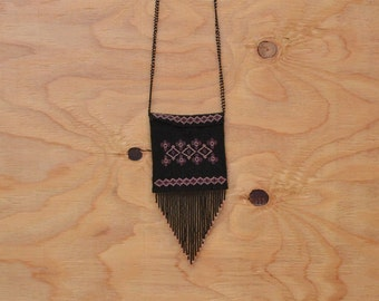 Vintage 80's Purse Beaded Black Purple & Pink Detail With Fringe Small