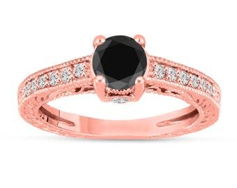 Fancy Black Diamond Engagement Ring 14K Rose Gold Vintage Antique Style Engraved 1.20 Carat Certified HandMade