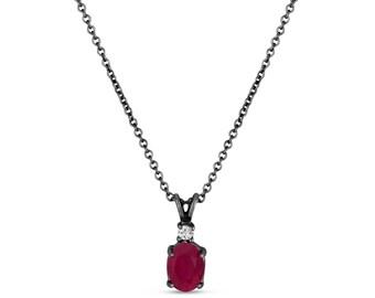 Oval Ruby & Diamond Solitaire Pendant Necklace 14K Black Gold Vintage Style 1.41 Carat HandMade