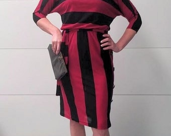 Vintage 1980's Burgundy and Black Striped Dress with Side Button Detail Brannan Street
