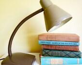 Vintage Gooseneck Desk Lamp,Tan Brown Metal Lamp, Industrial Decor