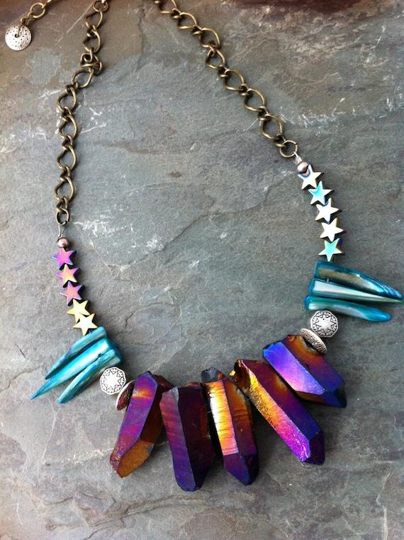 Celestial Iris Crystals Necklace, Edgy Tribal Crystal Quartz Chunky Prisms, Handmade Bohemian Jewelry, Celestial Stars Necklace, Bohemian