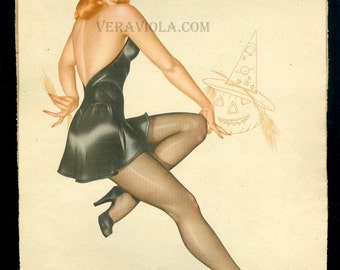 Vintage Halloween Varga Pin Up Witch Calendar Girl October 1946 Vargas Esquire