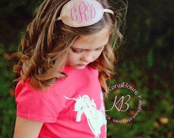 Monogram Headband - Oval Personalized Pink Headband - Embroidered - Monogrammed - Birthday Headband - Girl Monogram Glitter Slide Hair Band