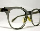 Vintage EyeGlasses Mens Horn Rim Safety Frames. Gray Translucent