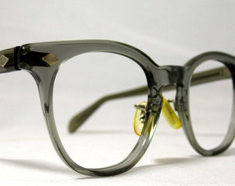 Vintage EyeGlasses Mens Horn Rim Safety Frames. Gray Translucent