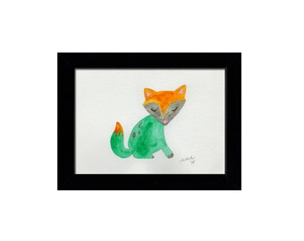 Sleepy Fox - Original Watercolor Illustrated Painting - 5 x 7 - Unframed Original Art - Orange, Blueish Green and Gray