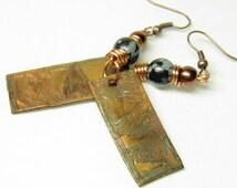 Etched Copper Earrings, Artisan Hammered Copper Snowflake Obsidian Steampunk Earrings, Wiccan Copper Jewelry, OOAK Steampunk Jewelry BOHO