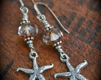 Silver and Czech Glass Starfish Earrings