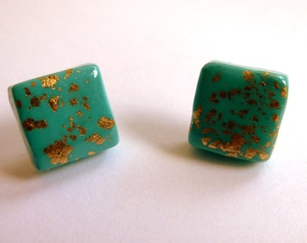 Mint Green Stud Earrings Mint Green Square Stud Earrings Mint Green Square Post Earrings Mint Green Earrings Polymer Clay Earrings Hand Made