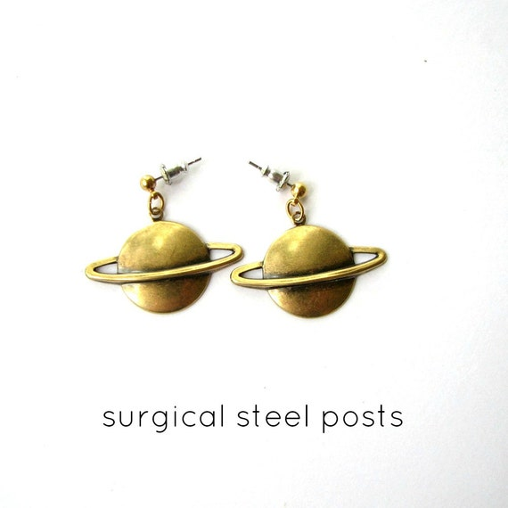 golden saturn earrings . your choice short or long . surgical steel posts or long hoops