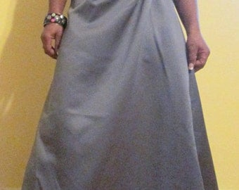 Gray Formal Dress. Smoke Gray Formal Ruched Dress. Gray Floor Length Dress