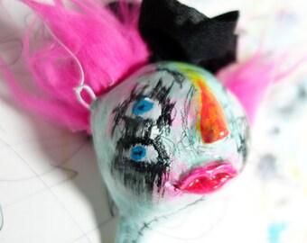 Strange Holiday Ornament Art Doll Head, punk rock Christmas Tree decoration, circus clown, pink hair toy