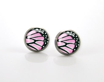 Pink Butterfly wing Titanium Post Earrings | Hypoallergenic Earring Stud | Titanium Earring Stud |