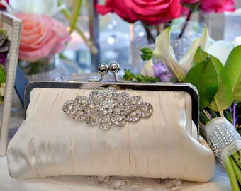 Ivory Bridal Clutch, Rhinestone Clutch, Crystal Brooch, White Wedding Purse, Silk Formal Bag {Gathered Kisslock w/ Brooch}