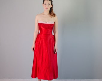 Vintage 1950s Red Dress - 50s Party Dress - Luck of Love Dress