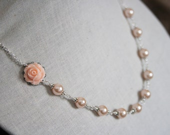 Handmade Peach Rose Necklace Peach Pearl Necklace Pearl Flower Necklace Peach Wedding Peach Bridesmaid Necklace Peach Statement Necklace