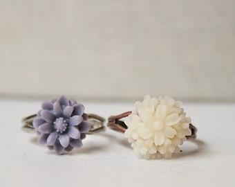 Handmade Flower Ring Lavender Flower Ring Ivory Flower Ring Adjustable Ring Purple Flower Ring Ivory Ring Lavender Ring