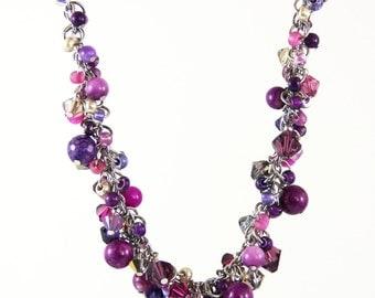 Fuchsia Cluster Strand- Swarovski Crystal Mother of Pearl Natural Stone Beaded Necklace Elegant Romantic Purple Pink Magenta