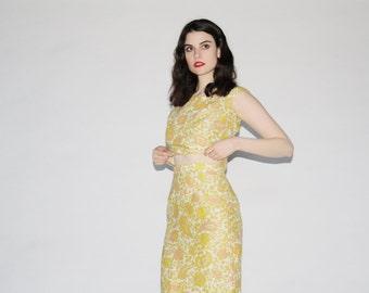 Vintage 60s Maxi Dress  - 1960s Two Piece Dress - The Subtle Touch Dress - WD0213