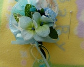 Mom to Be Corsage.... Peter Rabbit Theme....Boy, Girl or Neutral...Baby Shower Corsage...Beatrix Potter...Baby Sock/Bootie Corsage