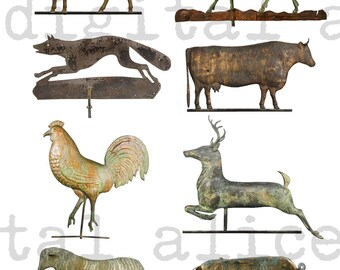 ANTIQUE WEATHERVANES PRINT - Instant Printable Digital Download - Collage Sheet Wall Art Paper Crafts - Old Metal Animal Weathervane