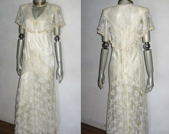 VTG Susan Lane's Country Elegance Lace Wedding Dress Cream Overlay See Mesh Lace Scallop Edge Lined Multifunctional Victorian Long Dress 8