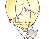 Fly Away Pink -- Nursery Art, child wall art, boy nursery, girl nursery,bunny rabbit, elephant