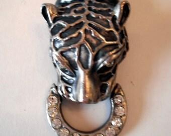 Vintage Metal Jaguar Brooch or Pendant with Rhinestones