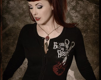 Embroidered Scissor Anatomical Heart Cardigan Sweater