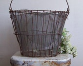 Antique wire basket potato basket screen lined coil wrap handle used repaired primitive garden use or decor