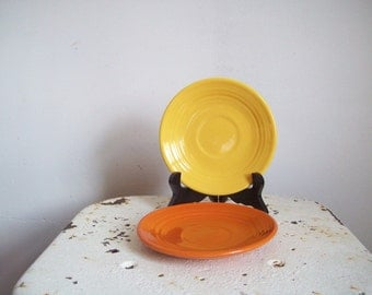 Vintage Bauer Pottery saucer ring ware chinese yellow saucer post war 1940s California pottery