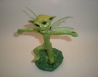 Pixie figurine Fairy Fantasy sculpture Upcycled art statue Metallic Green