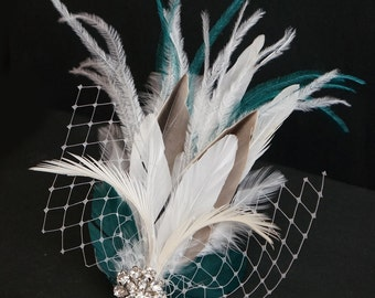 ELLETHWEN -- Modern Wedding Bridal Feather Fascinator Bride Headpiece Hair Clip White Ivory Taupe & Teal w/ Birdcage Veiling and Rhinestones