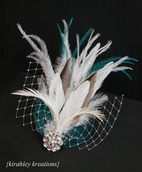 ELLETHWEN -- Modern Wedding Bridal Feather Fascinator Bride Headpiece Hair Clip White Ivory Taupe & Teal w/ Birdcage Veiling and Rhinestones
