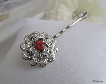 Bridal Red Hair Pin,Rose Victorian Style Hair Pin,Wedding Hair Pin,Bridal Rhinestone Hair Pin,Wedding Rhinestone Hair Pin,Red,Rose,ROSELANI