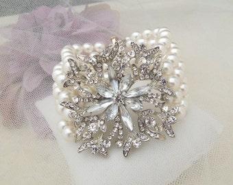 ivory swarovski pearl and crystal Bracelet Statement Bridal Bracelet Bridal Cuff Wedding Rhinestone Bracelet white swarovski pearl  BELEN