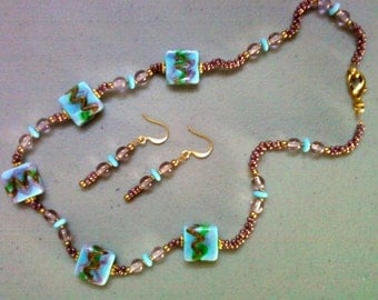 Aqua Blue, Green, Purple and Gold Necklace and Earrings (0646)