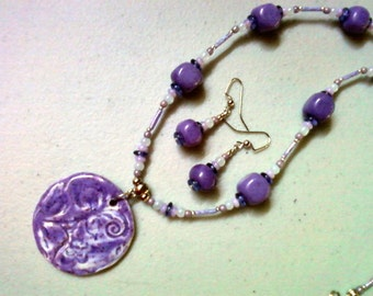 Purple, Lavender, Pink and Blue Necklace and Earrings (0489)