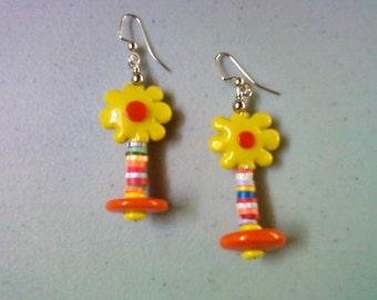 Sunny Yellow Flower Earrings (1294)