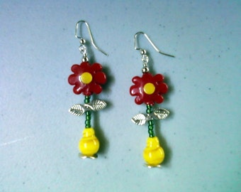 Red Flower Earrings (1293)