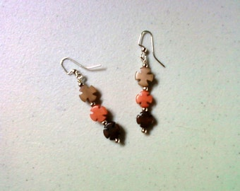 Brown, Pink and Tan Buri Nut Earrings (1479)