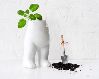 Tushiez Spring Vase - 5 INCH size - Cute Indoor Planter - Black or White - Porcelain Glossy or Matte - Plants Not Included