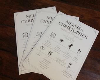 Wedding Schedule Card, Wedding Welcome Card, Wedding Itinerary Card, Day of Wedding Schedule Card, Bridesmaids Schedule Card Cartoons
