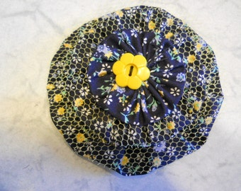 Fabric Flower Pin, Fabric Brooch, Fabric Flower Hair Clip, Navy Printed Fabric Flower with Yellow Button and Tulle, Purse Decoration, Gift