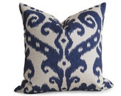 Decorative Designer Ikat Pillow Cover - Navy Blue - 16 inch - IKAT - Linen Pillow - Toss Pillow - Accent Pillow - Throw Pillow - Indigo