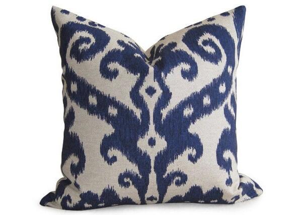 Decorative Designer Ikat Pillow Cover - Navy Blue - 16 inch - IKAT - Linen Pillow - Toss Pillow - Accent Pillow - Throw Pillow - Indigo