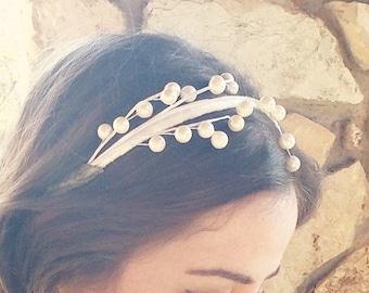Pearl Headband: bridal headpiece, holiday headband, for women and girls