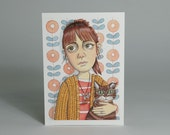 Portrait Art Postcard - Lucy and Cat